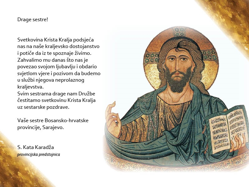 Čestitka provincijske predstojnice s. Kate Karadža o svetkovini Krista Kralja