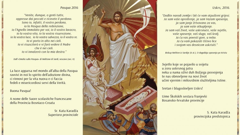Uskrsna čestitka provincijske predstojnice s. Kate Karadža