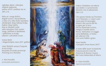 Božićna čestitka provincijske predstojnice s. Kate Karadža