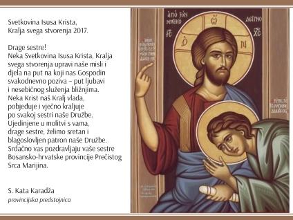 Čestitka provincijske predstojnice o Svetkovini Krista Kralja