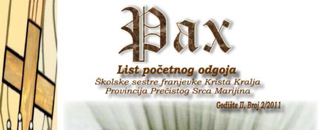 """Novi broj lista početnog odgoja """"Pax"""""""